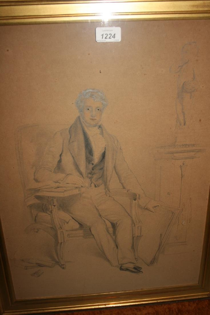 19th Century pencil and watercolour portrait of a