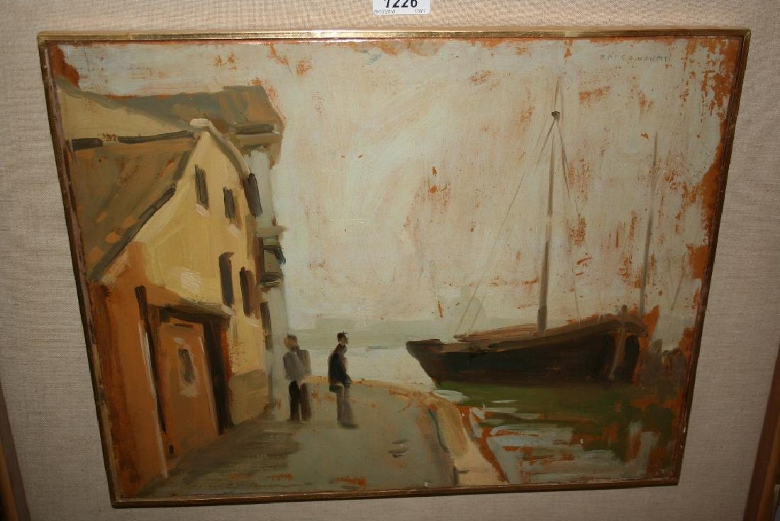 Marco Novati, oil on board, figures on a harbour with