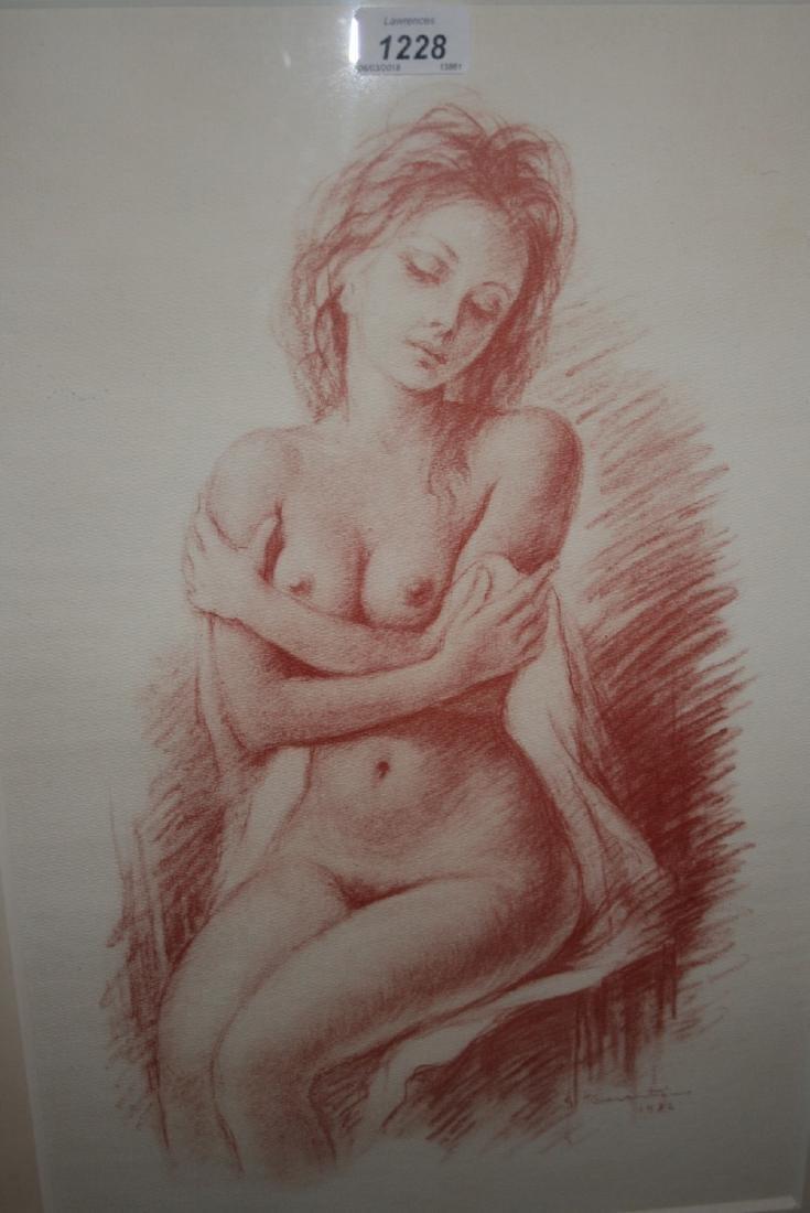 G. Tarantino, monochrome print, a seated nude female,