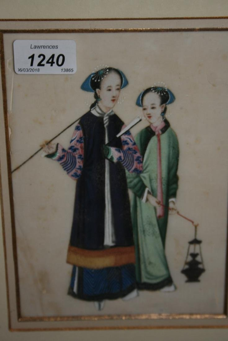 19th Century Oriental paintings on rice paper of