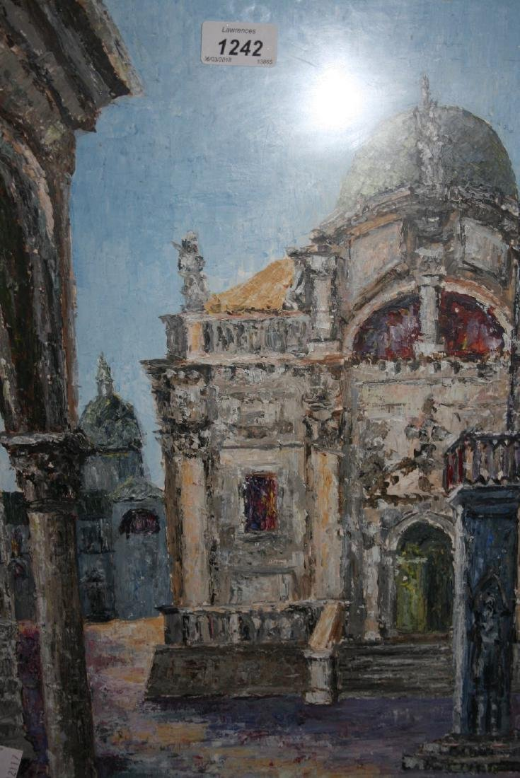 East European school, mixed media painting, view of a