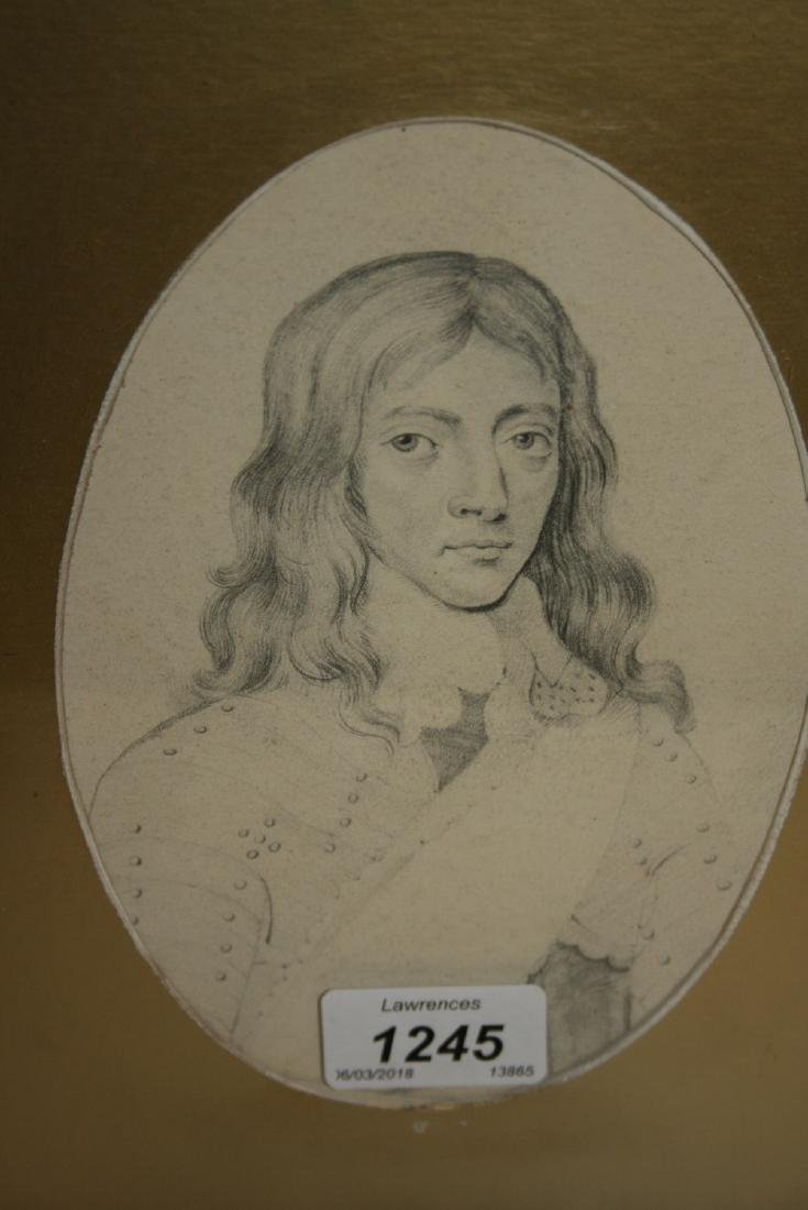 Early 19th Century pencil head and shoulder portrait of
