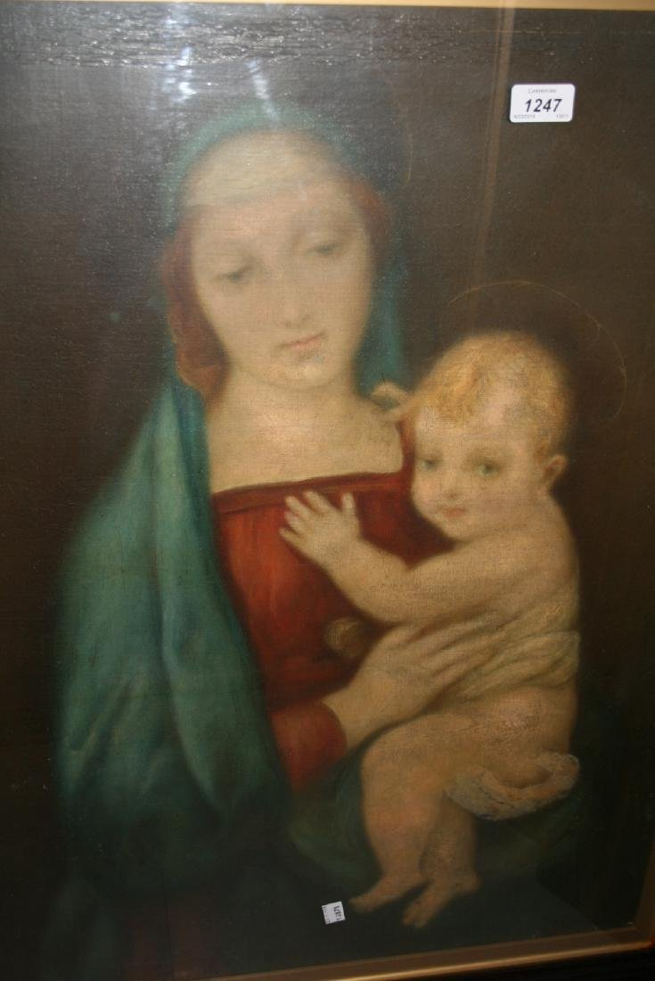 19th Century oil on canvas, religious study of the