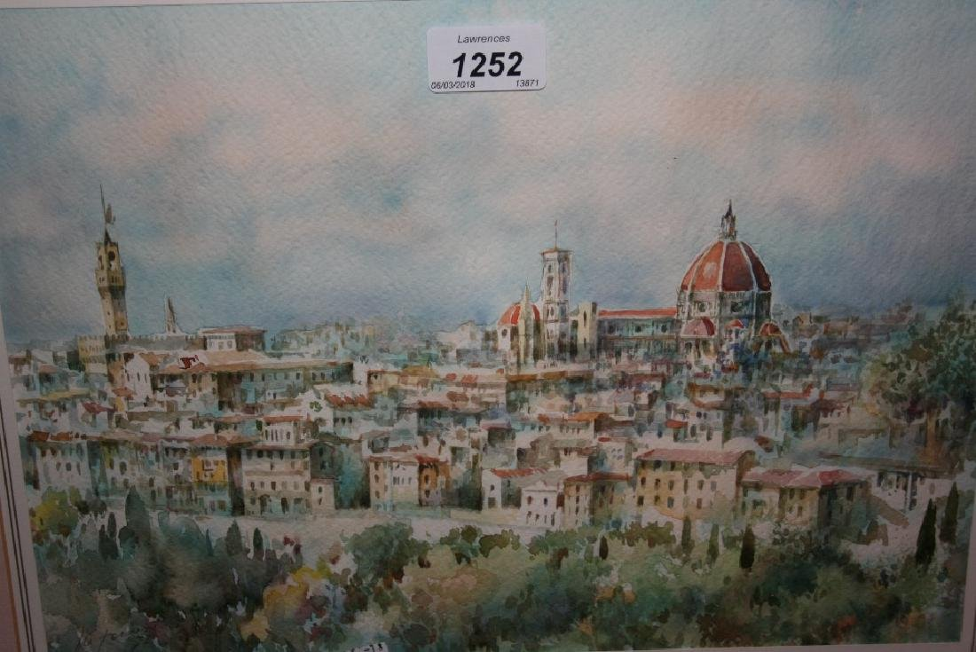 Watercolour, view of Florence and the Cathedral of St.