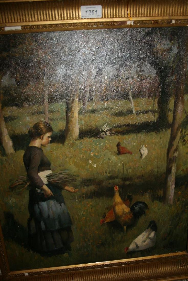 Oil on canvas applied to board, girl feeding chickens