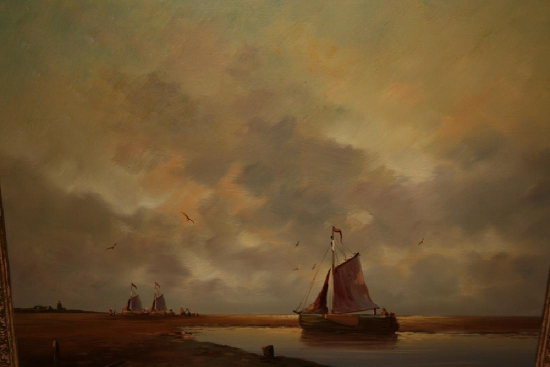 A.V.D. Velde, 20th Century oil on panel, boats near Den