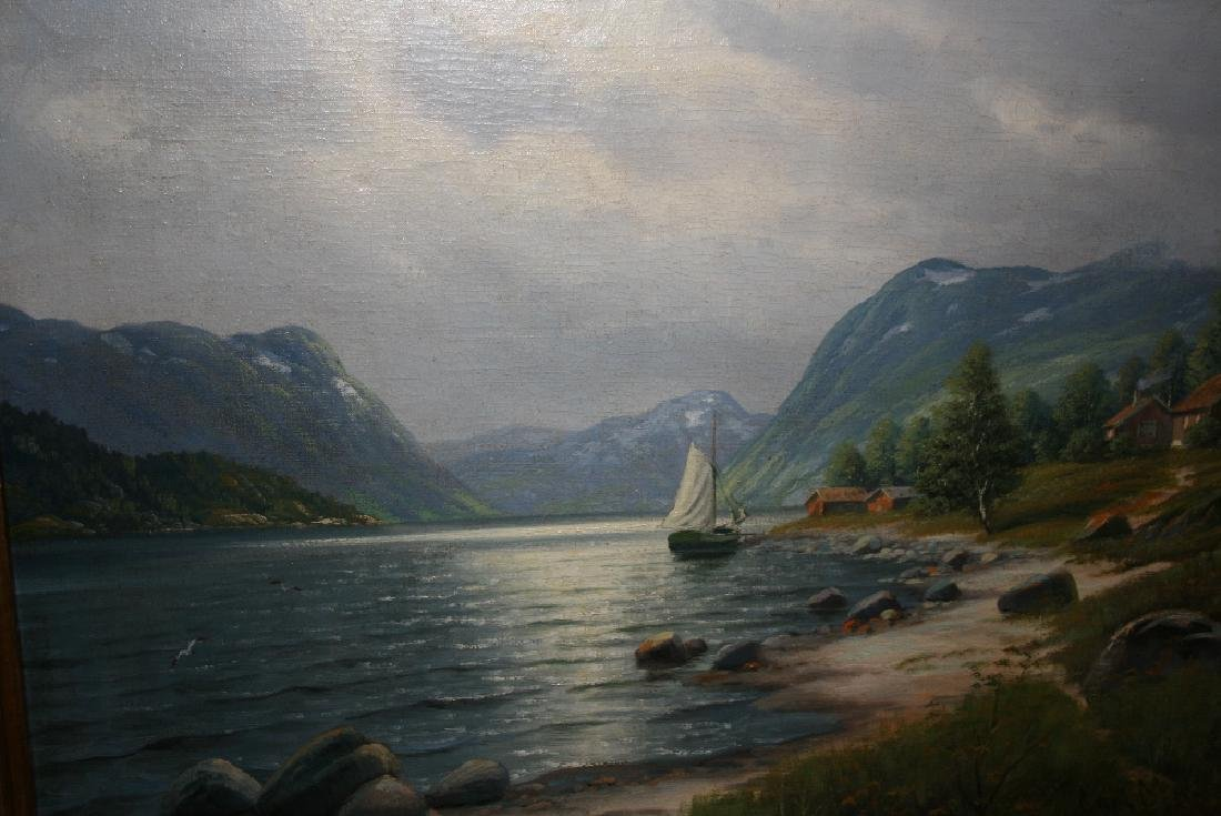 Carl Moe, 20th Century oil on canvas, Highland lake