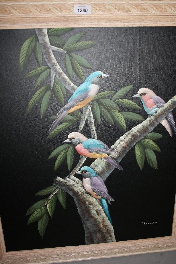 20th Century oil on canvas, bird of paradise, signed,