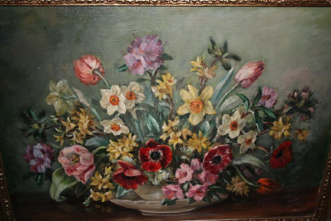 Mid 20th Century oil on canvas, still life, summer