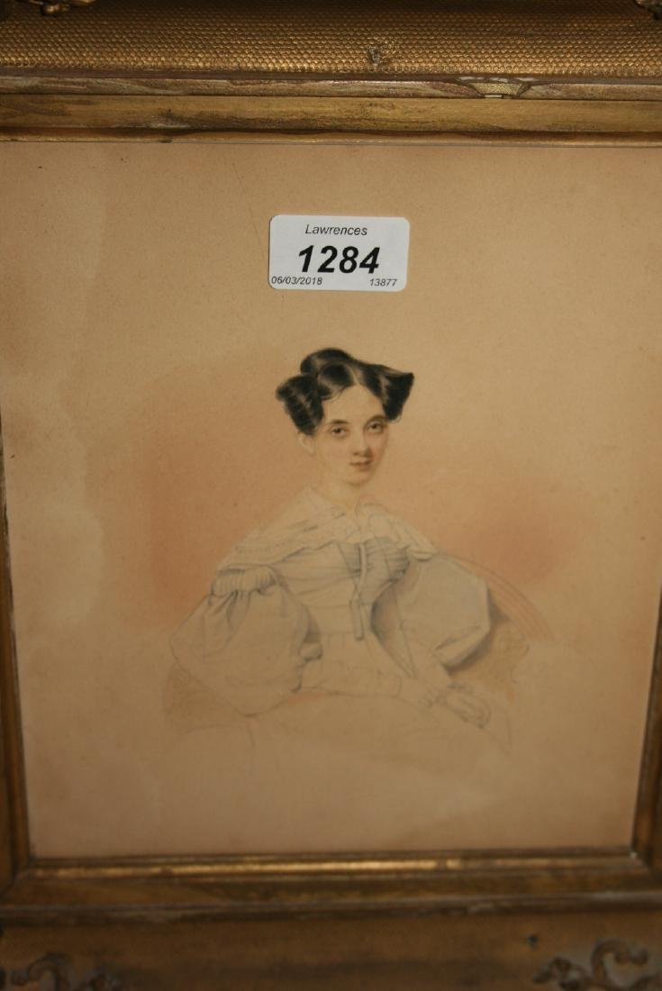 19th Century English school, watercolour, portrait of a