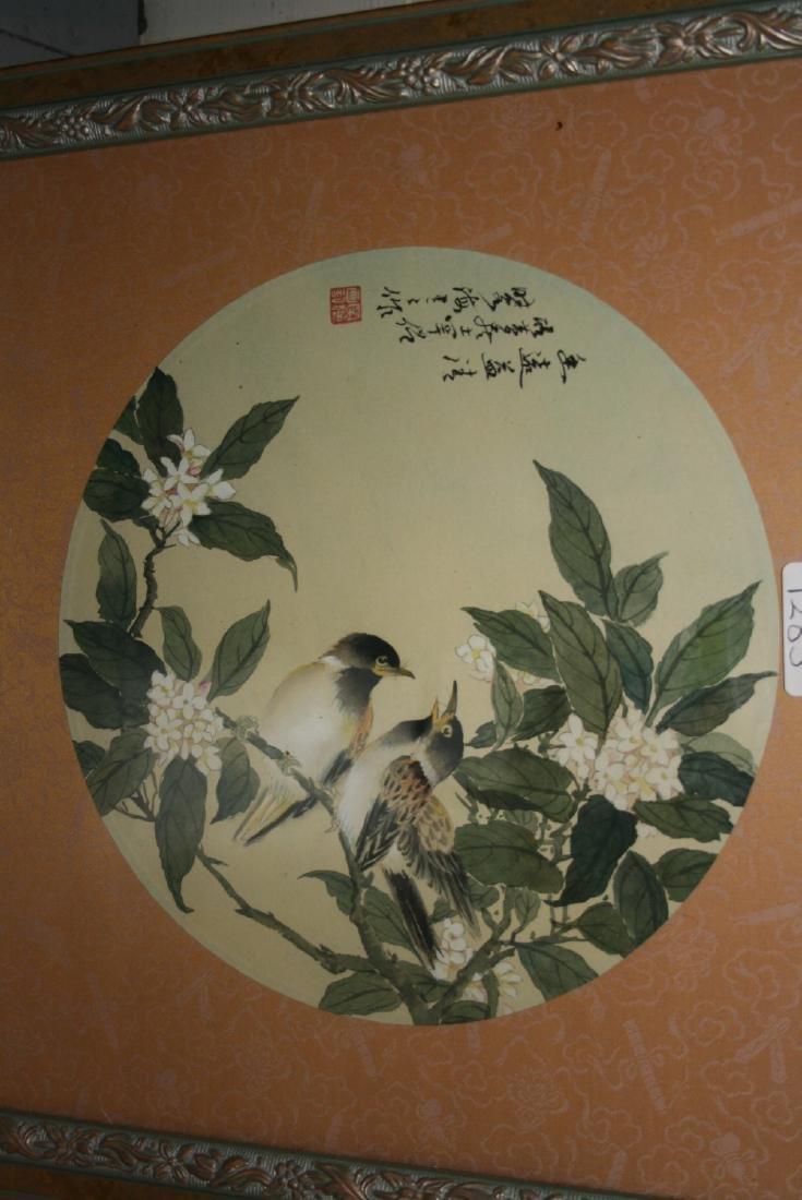Set of three Chinese circular mounted watercolours,