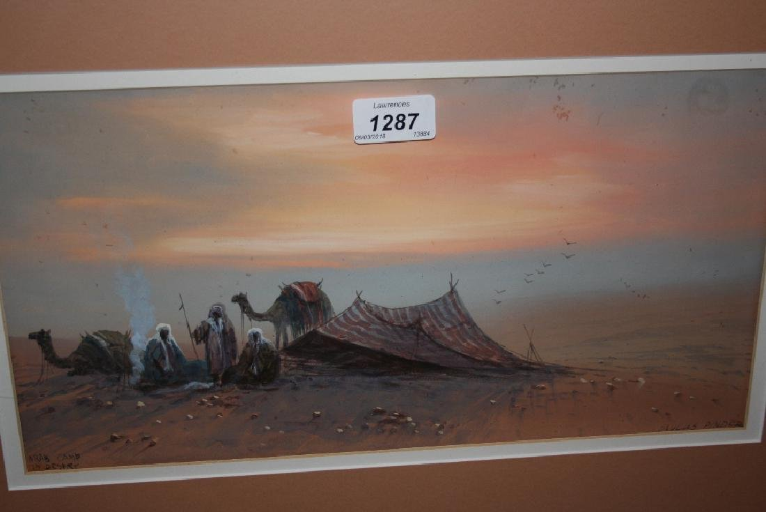 Douglas Pinder, watercolour, Arab camp in the desert,