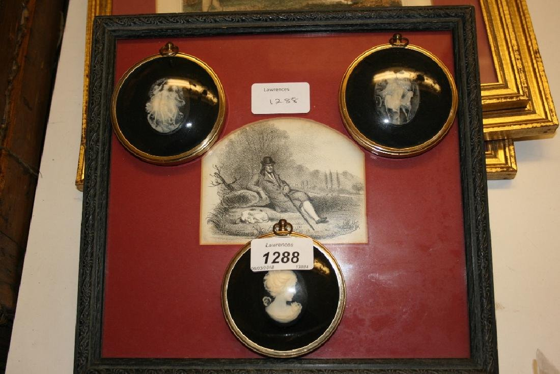 Group of three reproduction cameos together with three
