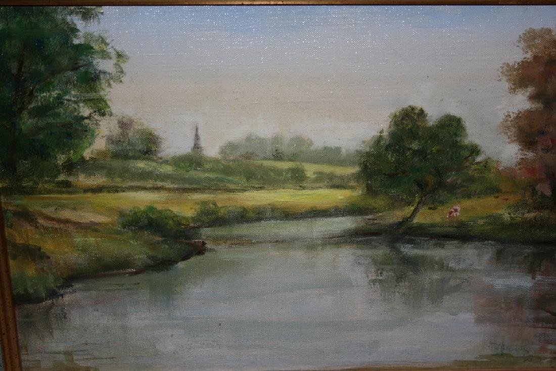 Small oil on canvas, landscape with stream, signed