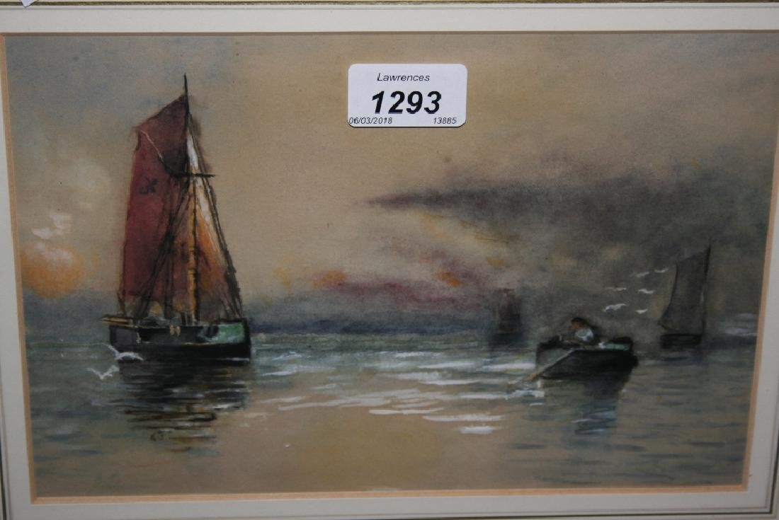 Pastel drawing, boats in a sunset, gilt framed,