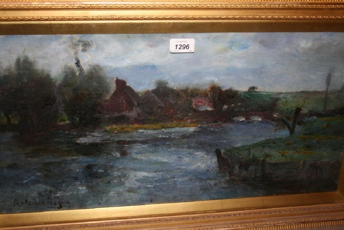 Joshua Anderson Hague, oil on canvas, river scene with