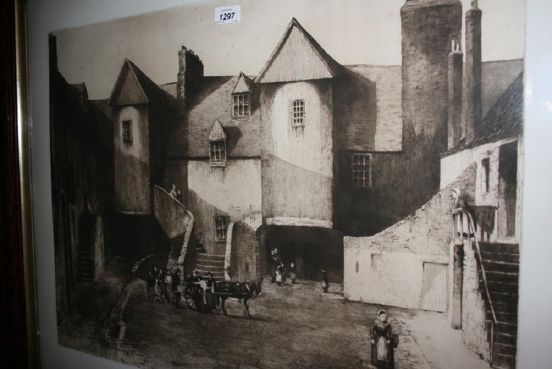 Large framed etching, ' The White Horse Close ' after