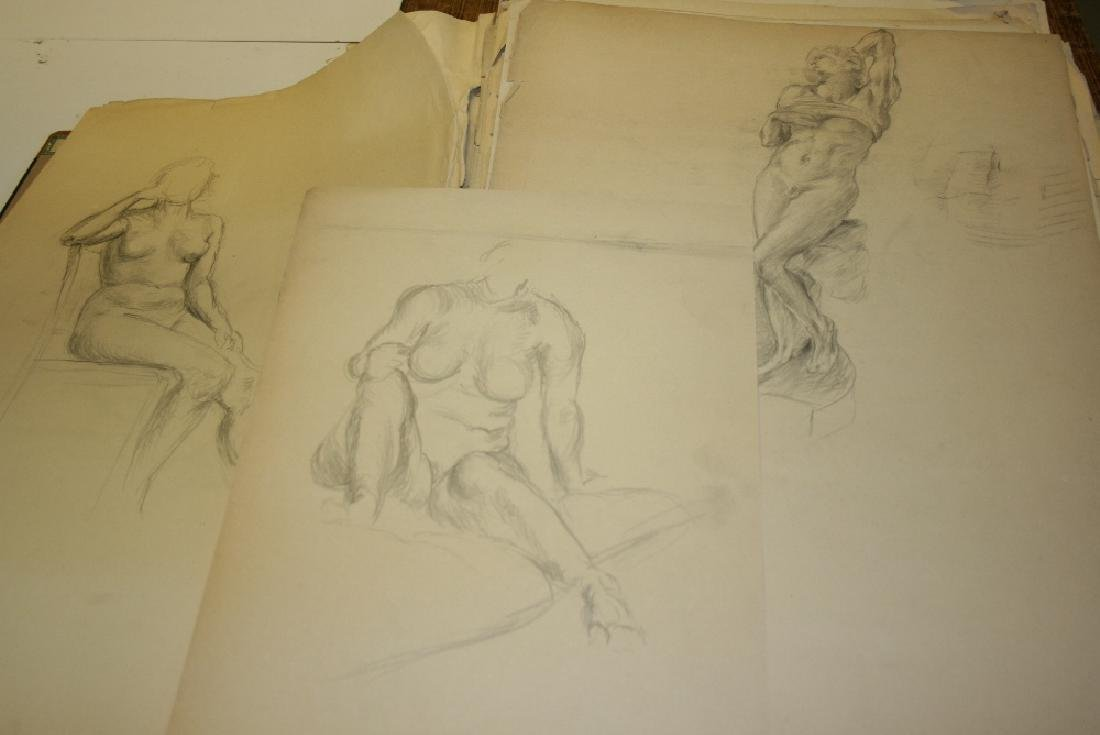 Blue portfolio of early 20th Century nude pencil