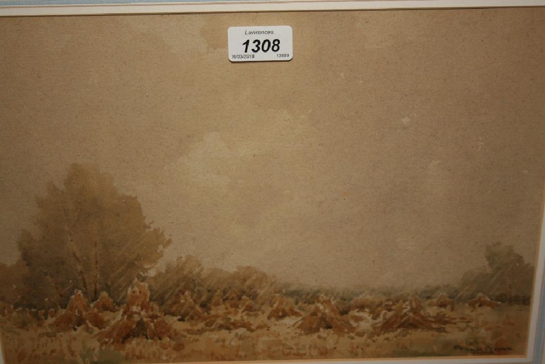 Frank Moore, watercolour, corn stooks, signed, 9.5ins x