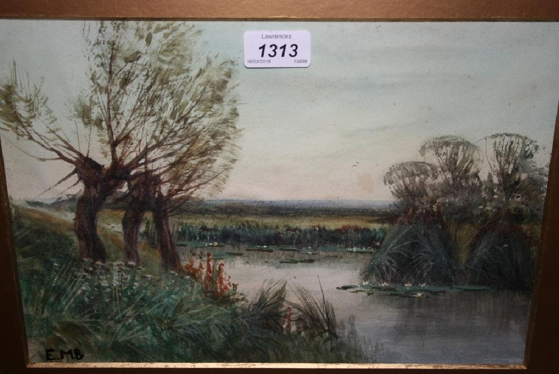 Eileen Mary Blake, watercolour, river scene near