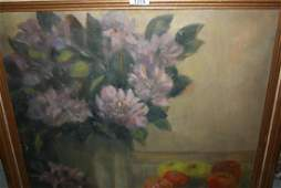 20th Century oil on canvas vase of flowers and fruit