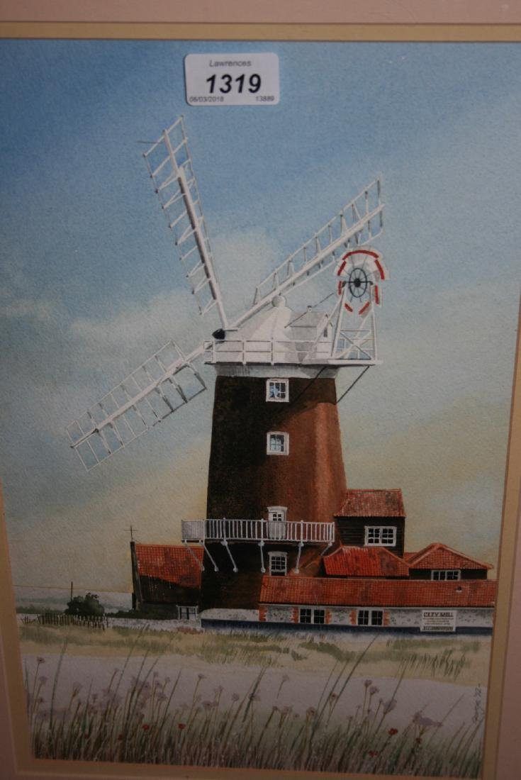 20th Century watercolour view of Cley windmill,