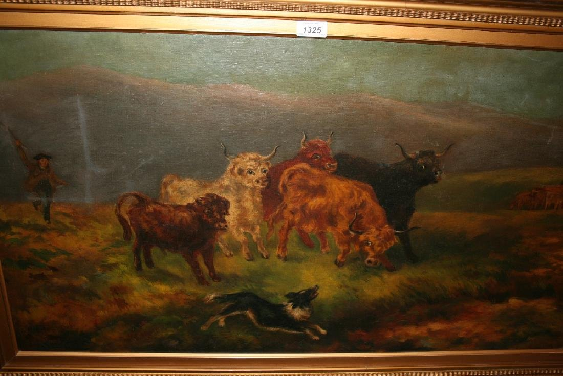 Late 19th Century oil on canvas, Highland cattle with