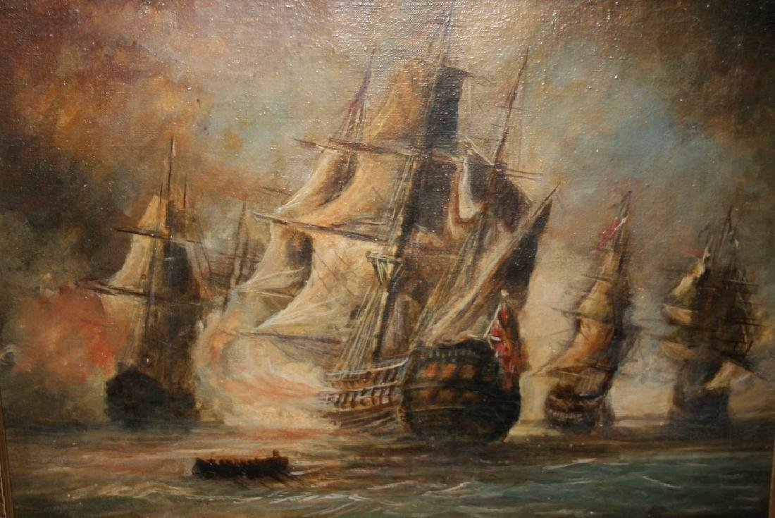 19th / 20th Century oil on canvas, masted battle ships
