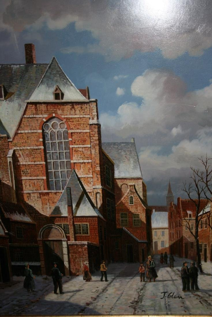 J. Glenn, 20th Century oil on panel, winter street