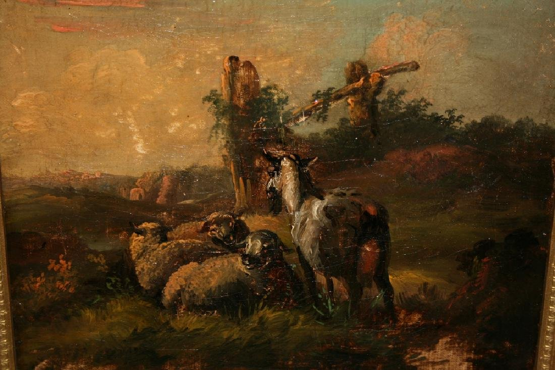 19th Century oil on canvas, sheep and a goat in a