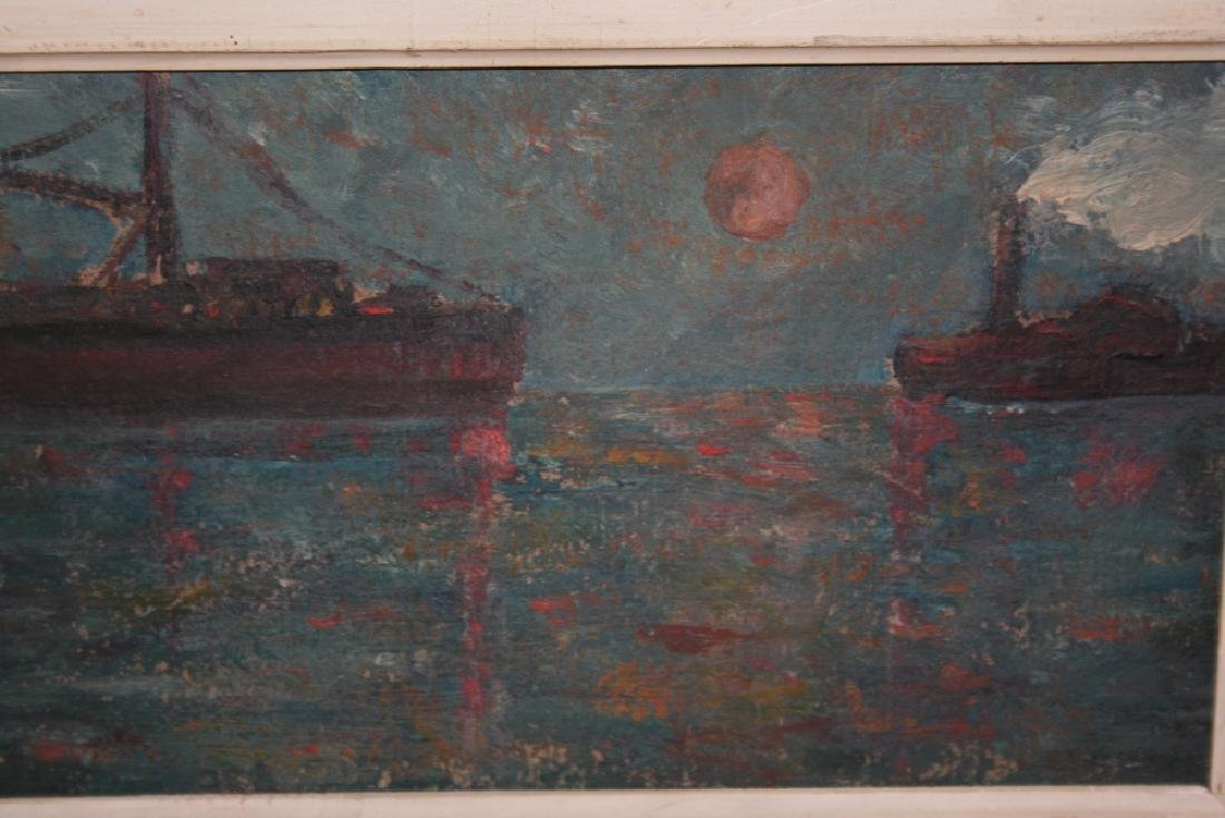 Two framed oils, shipping scene by moonlight, 5.5ins x
