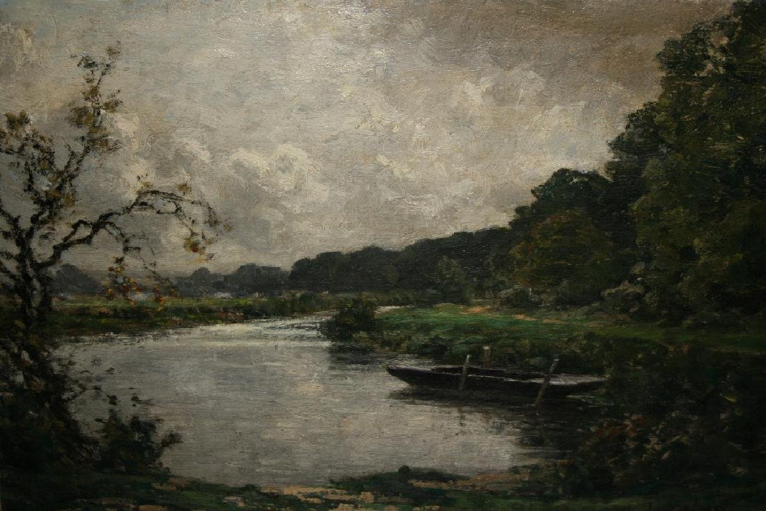 Greville Irwin, signed oil on canvas, view across a