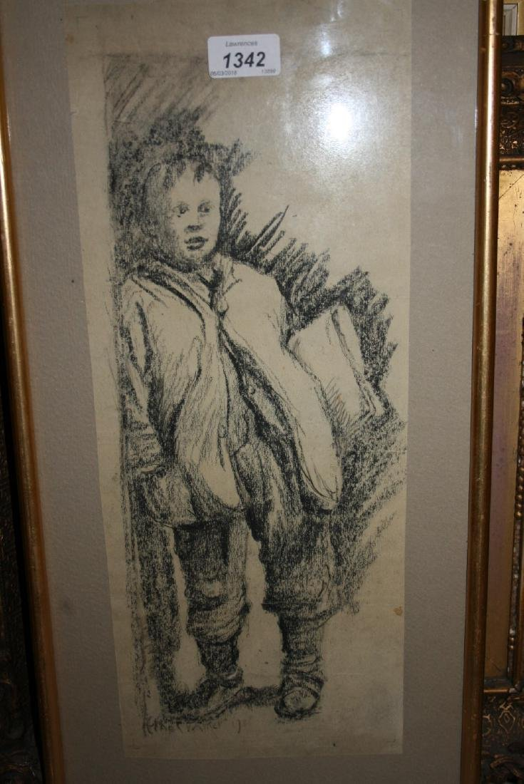 Ethel Walker, signed charcoal drawing portrait of a
