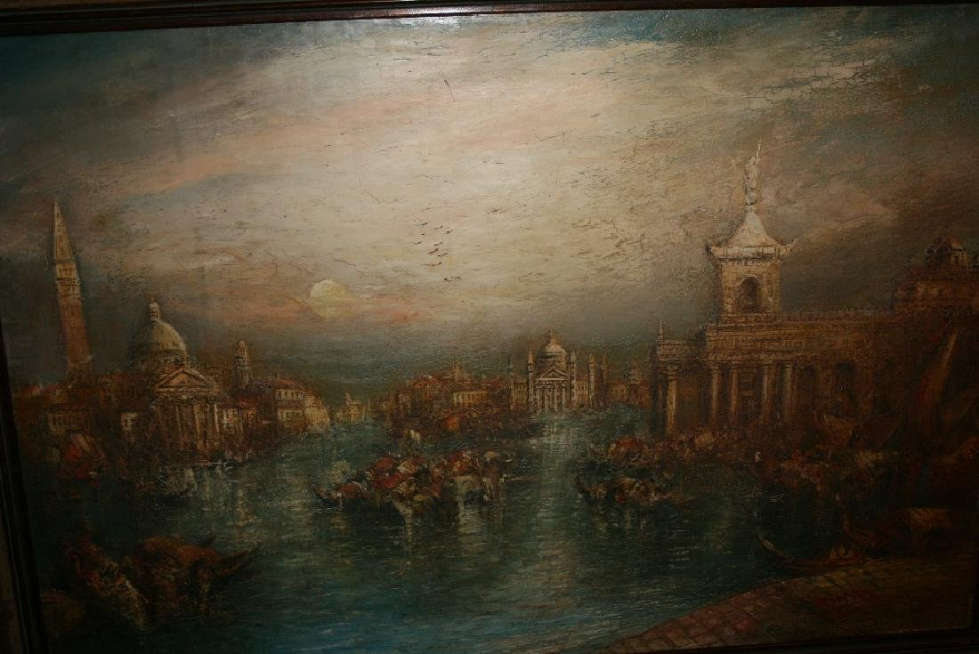 Oil on canvas laid onto board, boats on the Grand