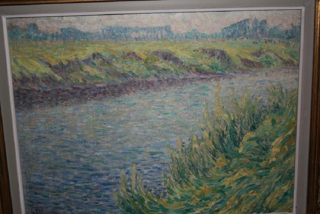 Impressionist style oil on canvas, river landscape,