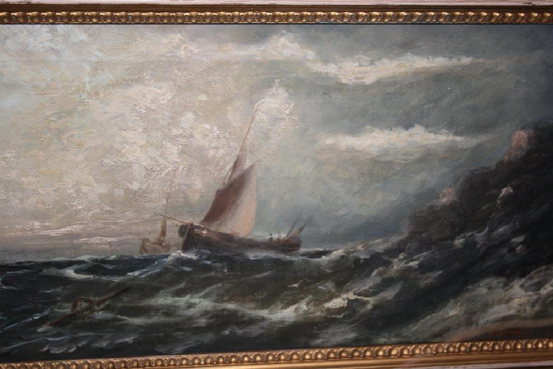 19th Century oil on canvas, maritime scene with