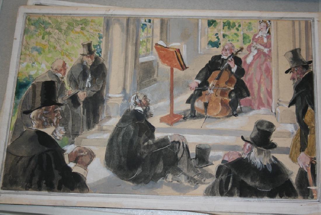 Steven Spurrier, two unframed watercolour and gouache