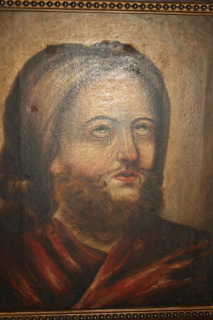 19th Century oil on canvas, portrait of Christ