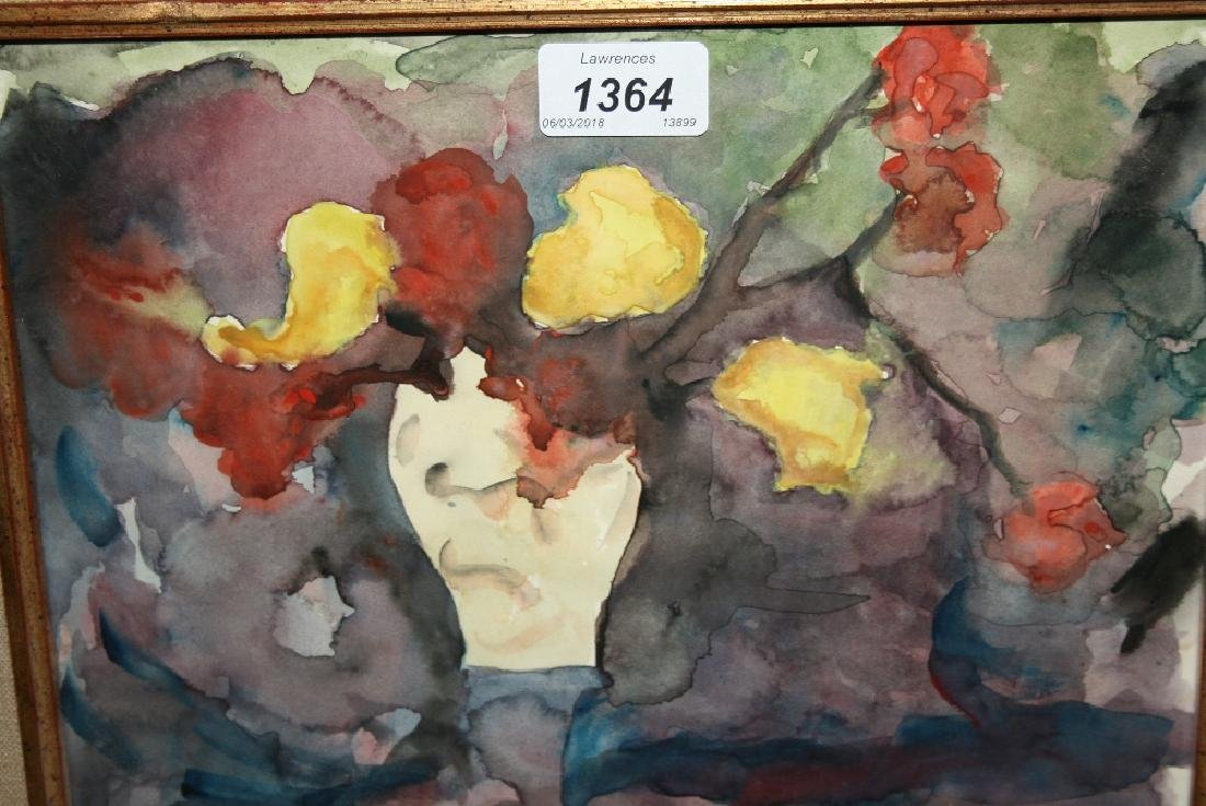 Watercolour, red and yellow flowers in a vase, bearing