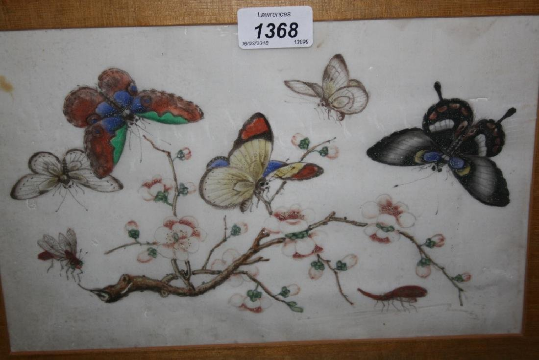 Two Chinese paintings on rice paper, study of