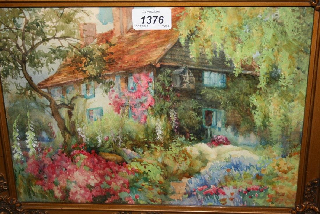 Two framed watercolours, garden scene, signed T. Mackay