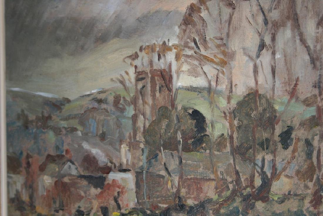Modern British school oil on board, village amongst