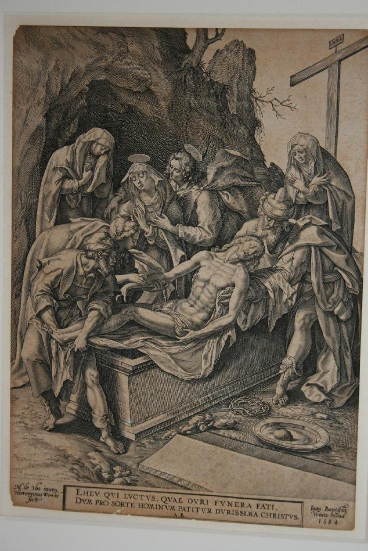 Unframed 16th Century engraving, ' The Entombment of