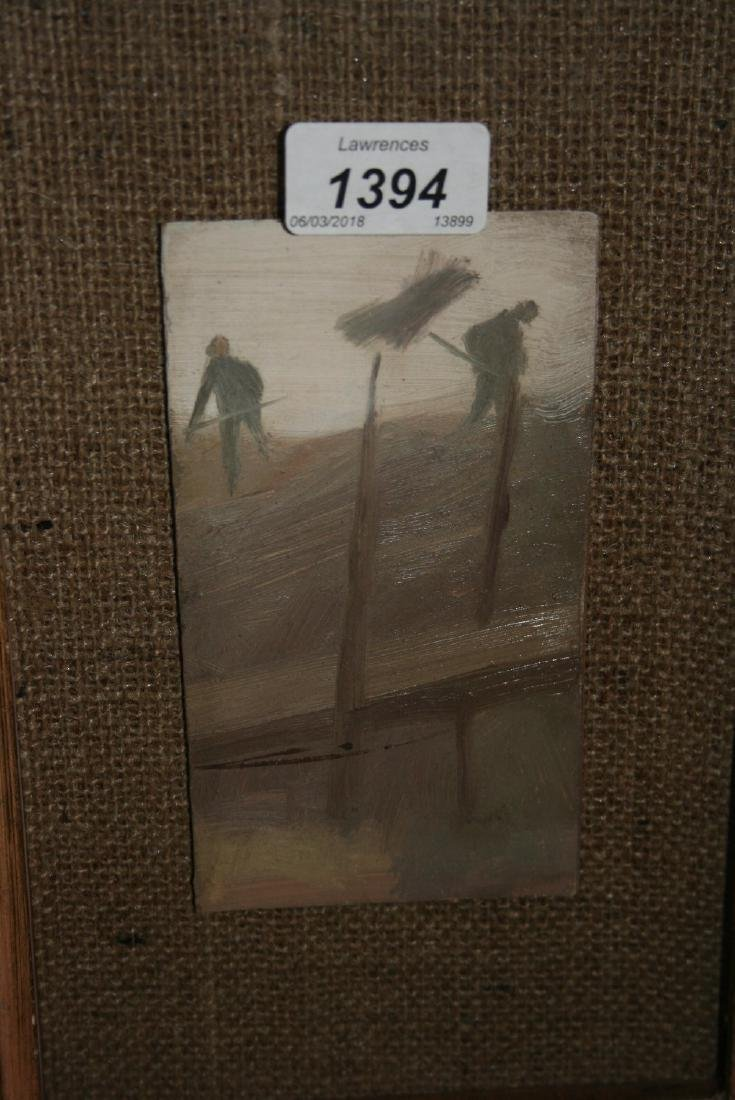 Oil on board, two figures working in a landscape,