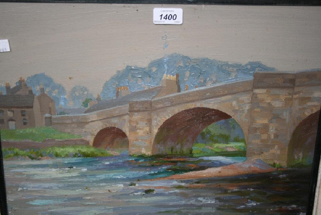Clifford Hanney, oil on board, view of a river bridge,