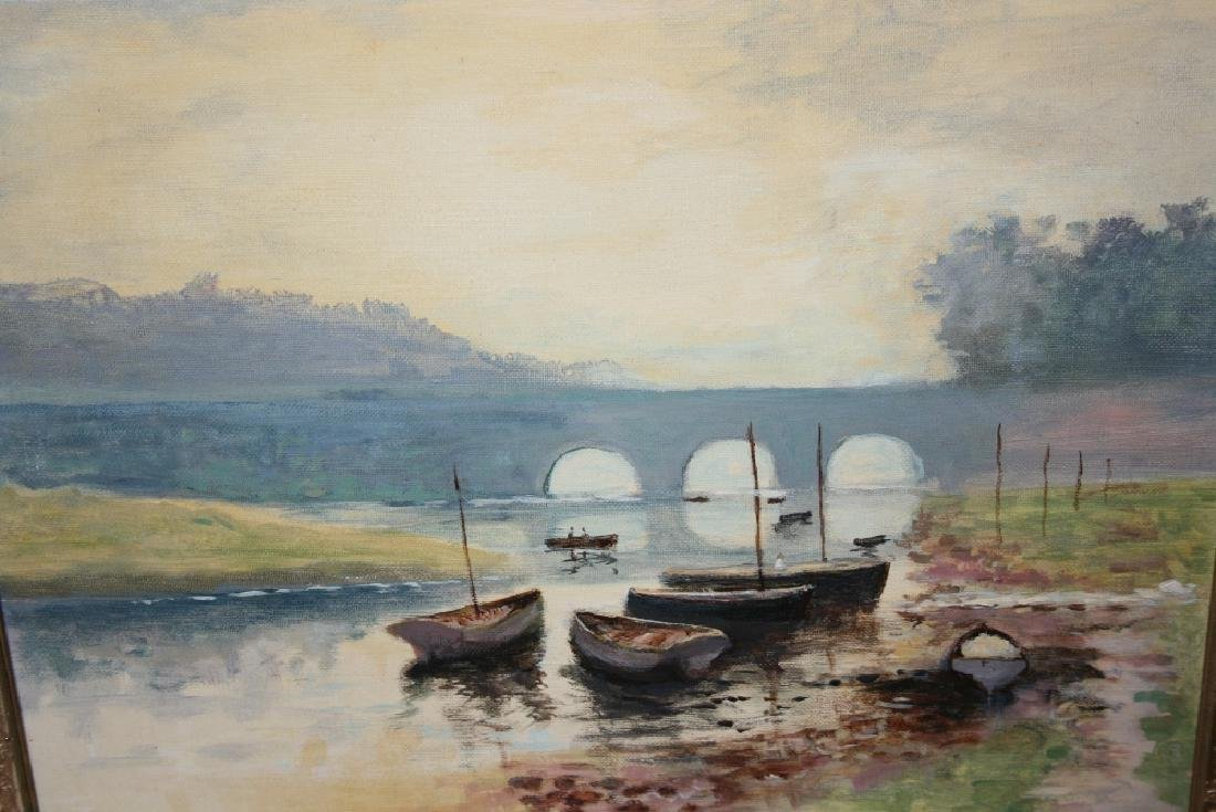 Kenneth Pain, oil on canvas board, boats on a river,