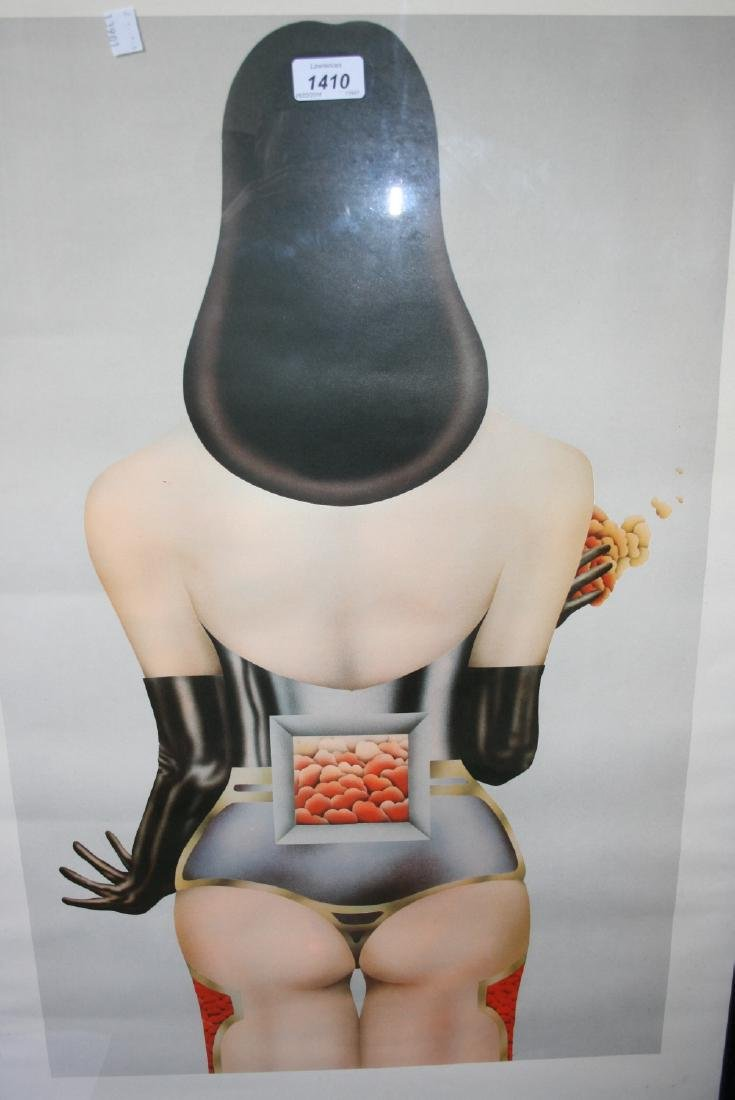 Large poster print of a lady, 27ins x 17ins