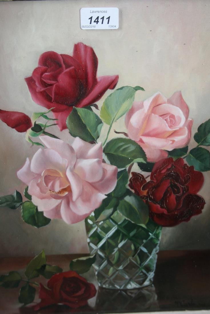 20th Century oil on board, still life of roses in a