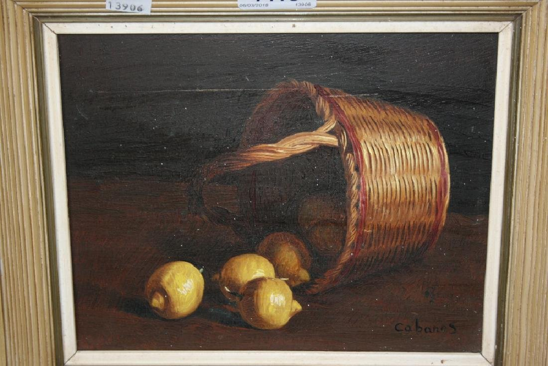 Small oil on canvas, still life, signed Cabanes, 6ins x