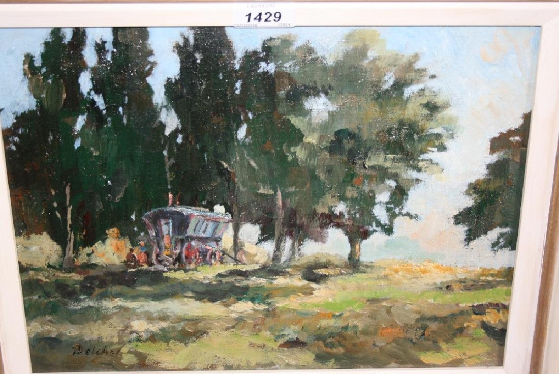 Oil on canvas, a gypsy caravan in a wooded landscape,